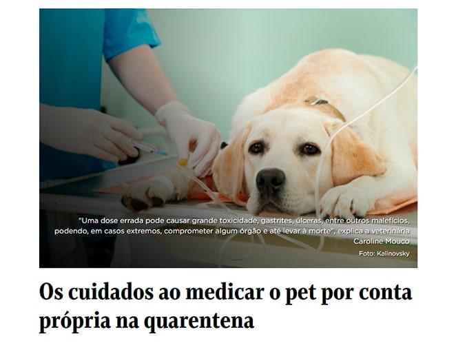 Saiu na imprensa - Cuidados ao medicar o pet por conta própria